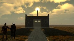 sun over obelisk